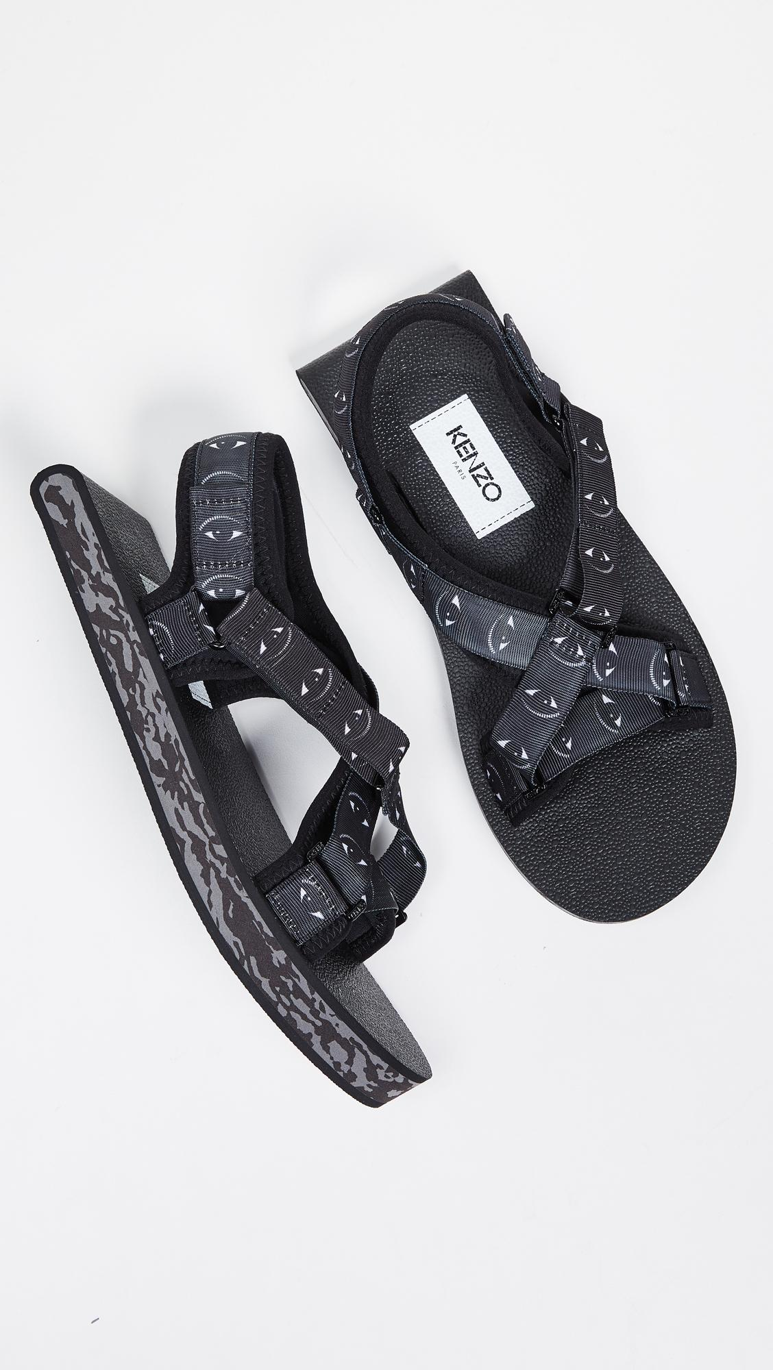 7686eb2fadf2 KENZO Lynn Flat Sandals in Black for Men - Lyst