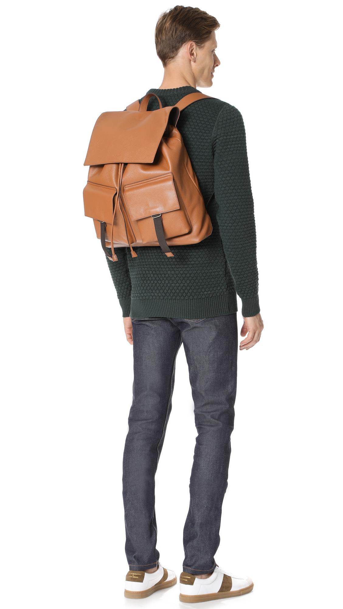 Michael Kors Johnny Leather Backpack in Brown for Men