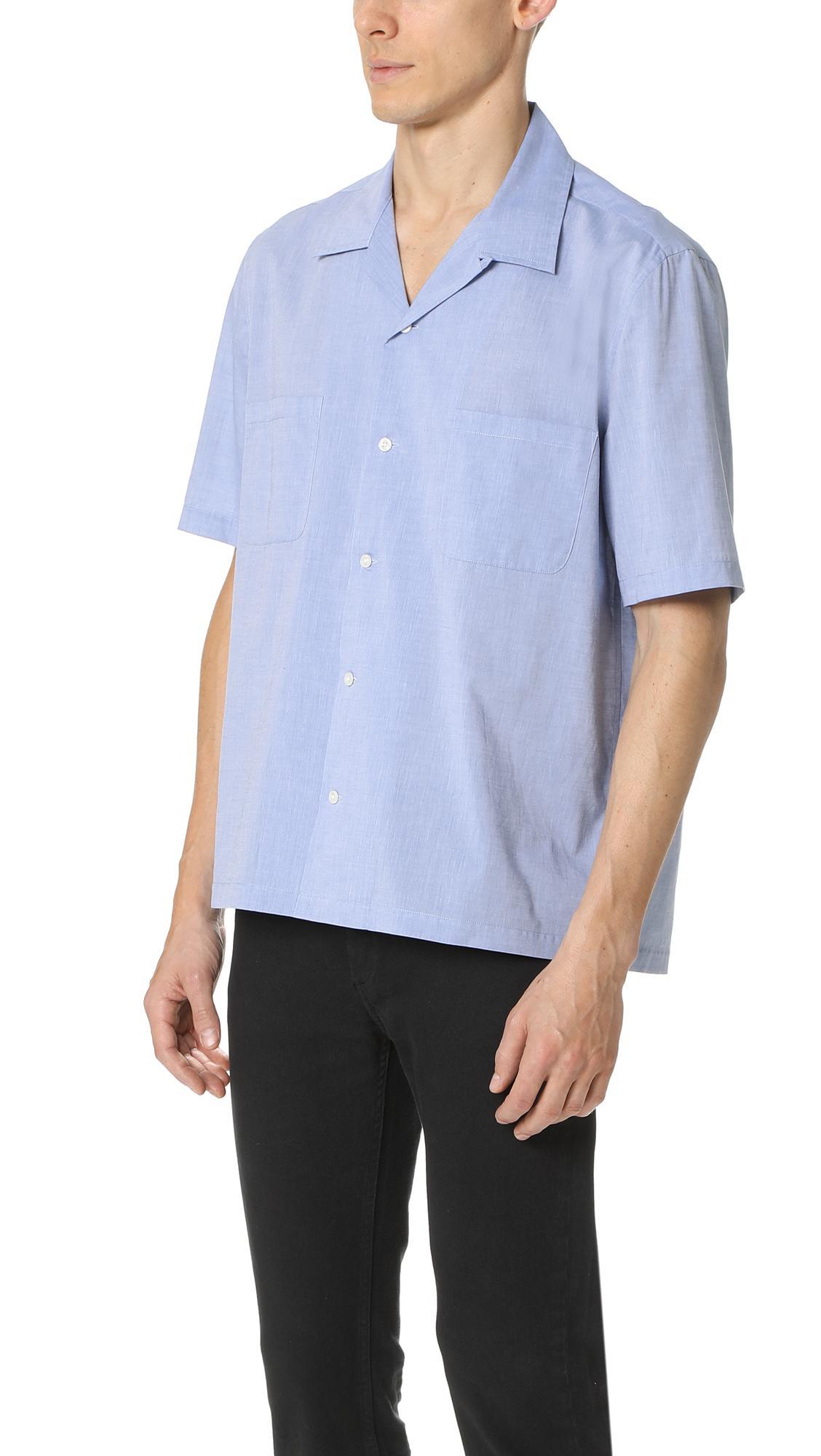 Vince Cotton Cabana Shirt in Vintage Blue (Blue) for Men