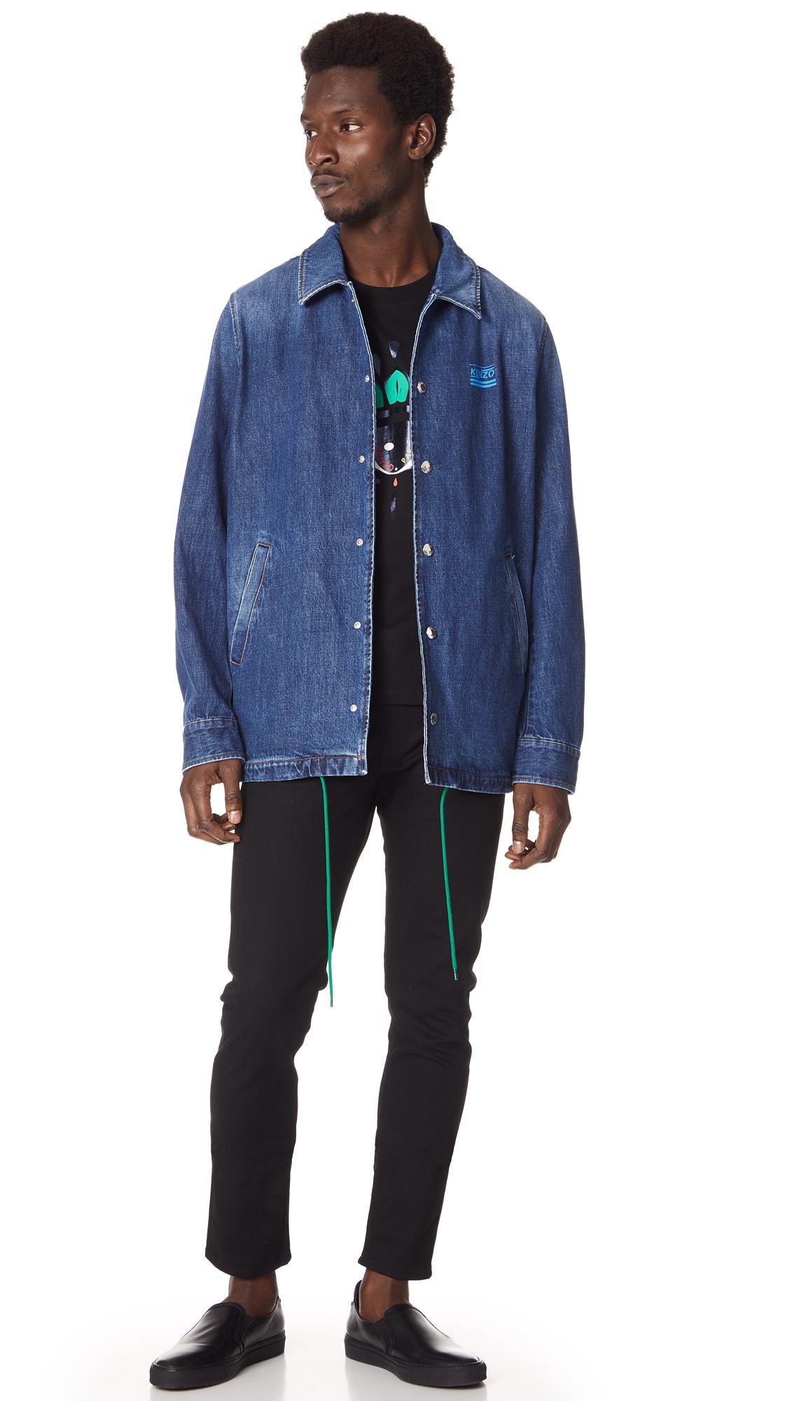 KENZO Denim Coach Jacket in Navy (Blue) for Men
