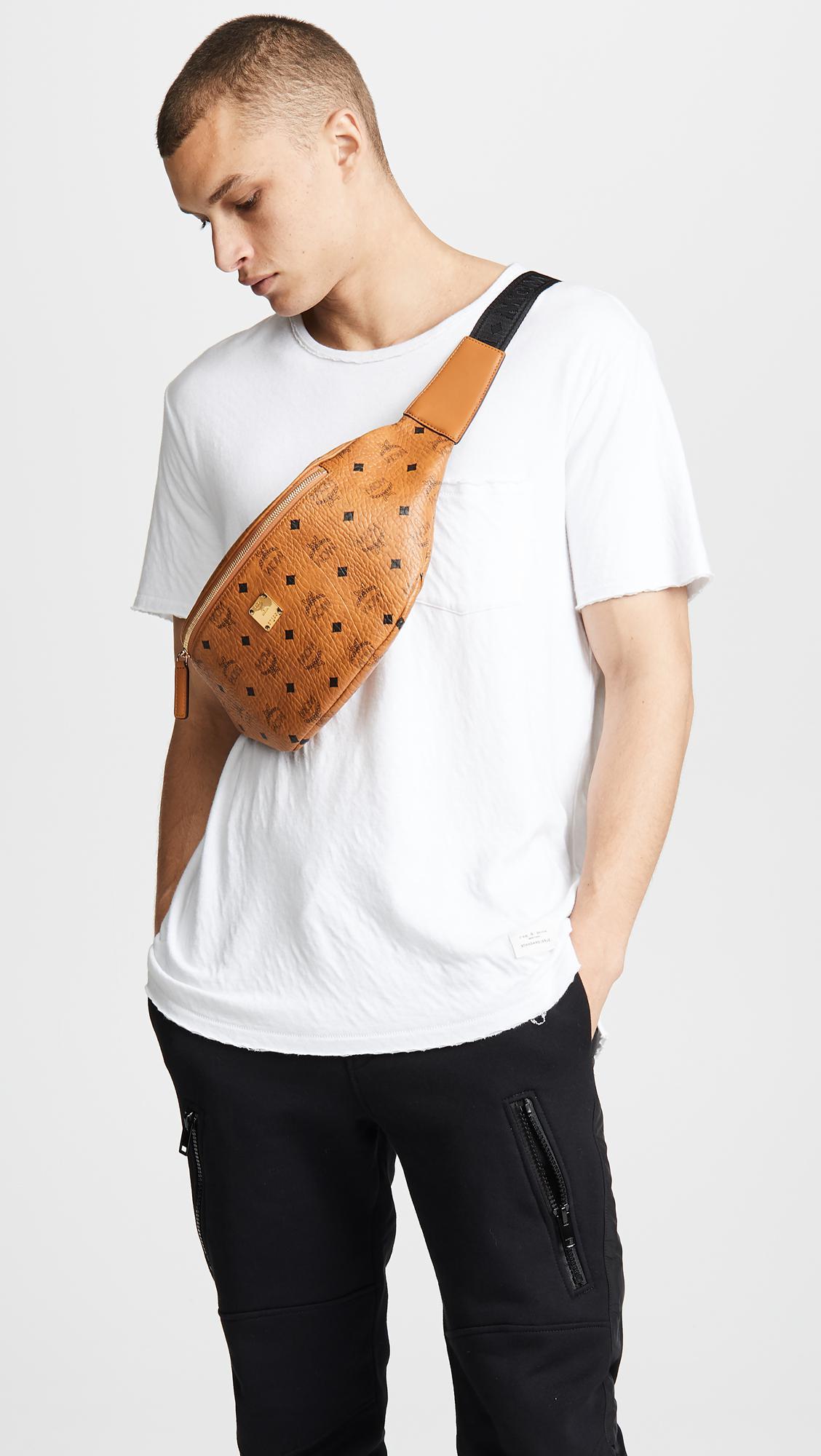Mcm Stark Medium Belt Bag In Brown For Men Lyst