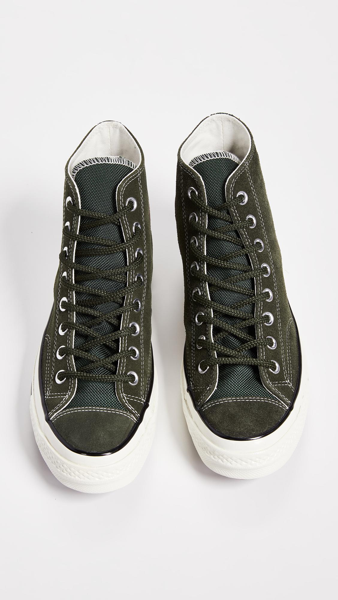 80c7bcfbe77 Converse Chuck Taylor 70 Base Camp Suede High Top Sneakers in Green ...
