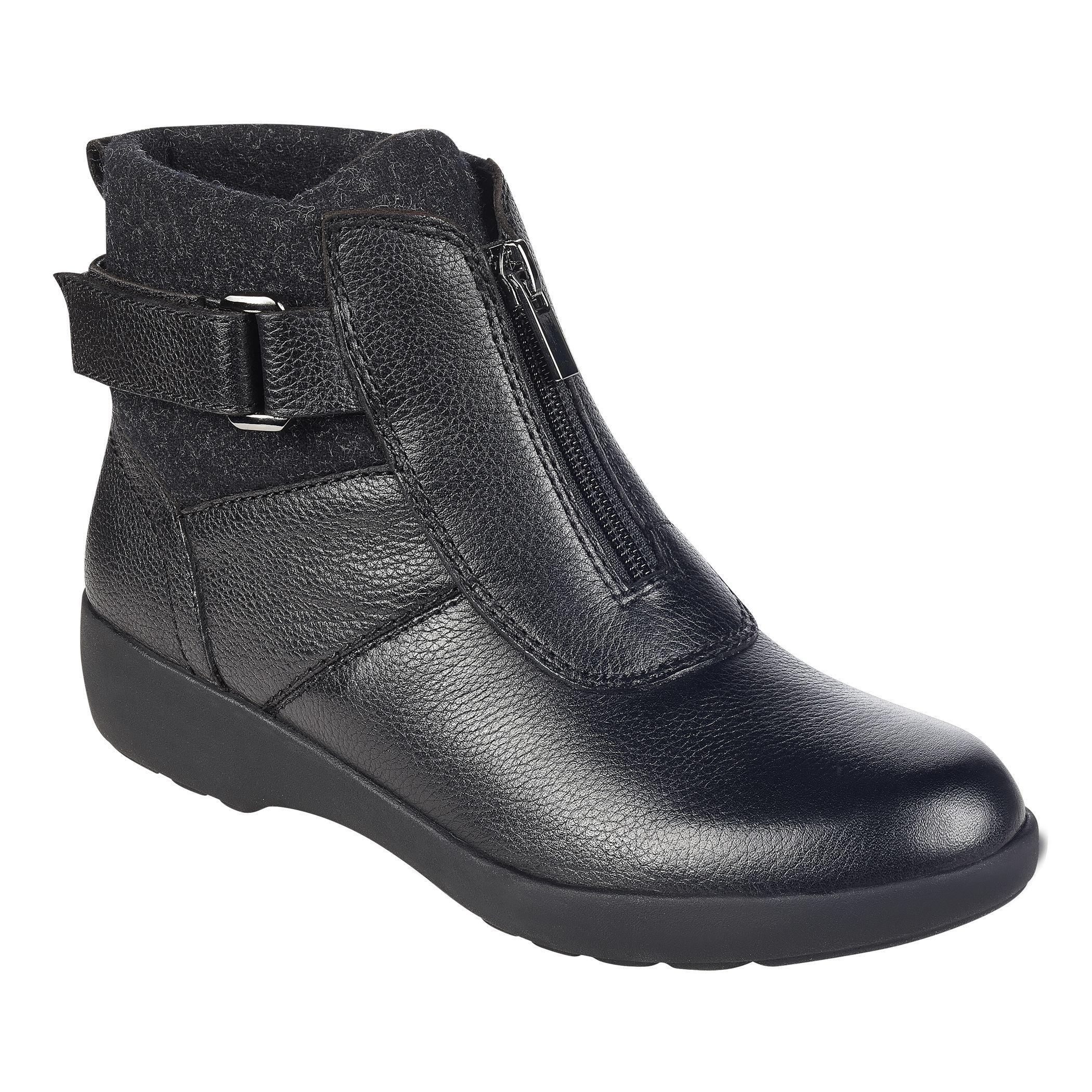 627efd47bd883 Easy Spirit Black Kaymeen Leather Ankle Booties. View fullscreen