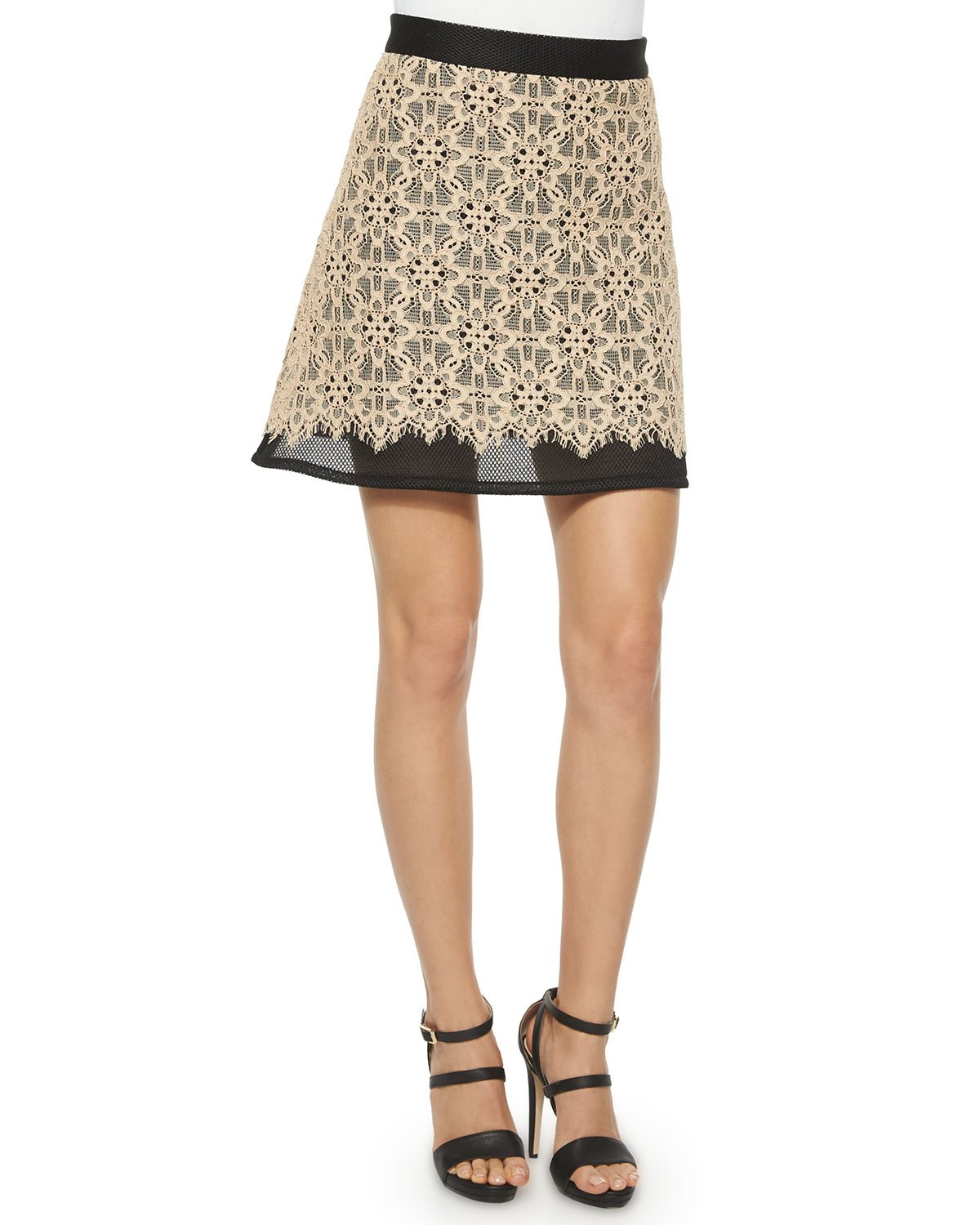 dkny sports mesh lace a line skirt in beige lyst