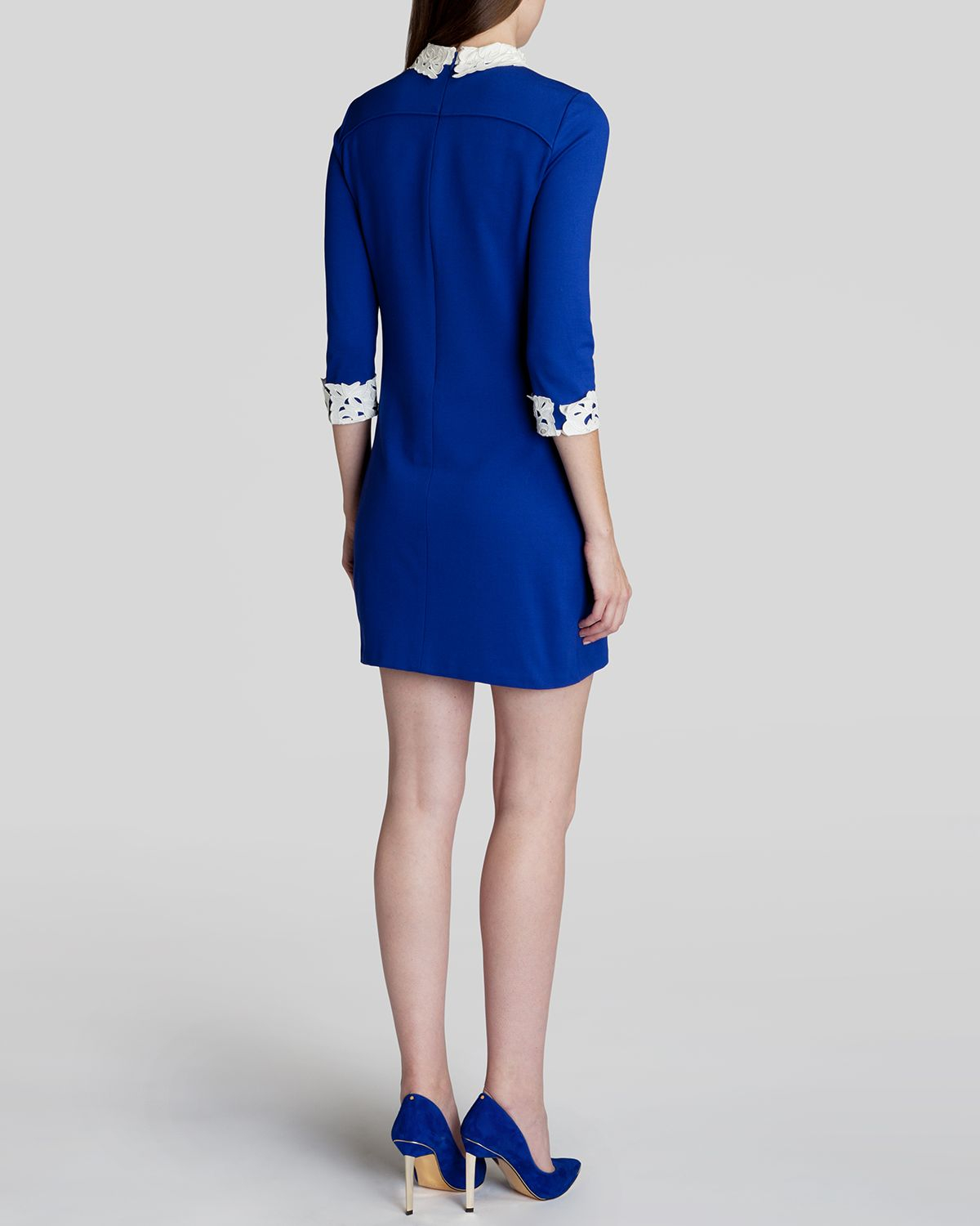 Blue dress with lace collar