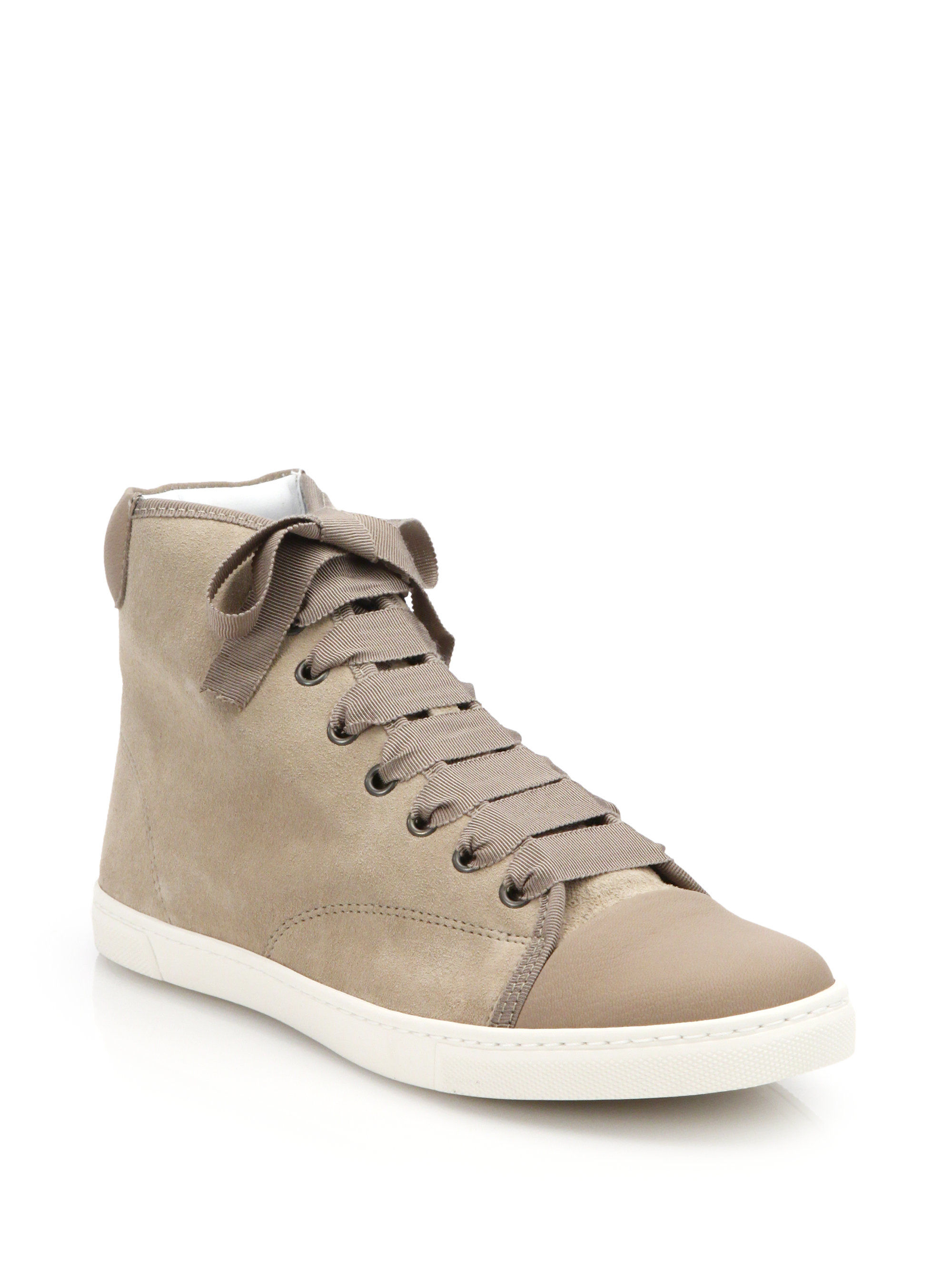 Lyst Lanvin Suede High Top Sneakers In Natural