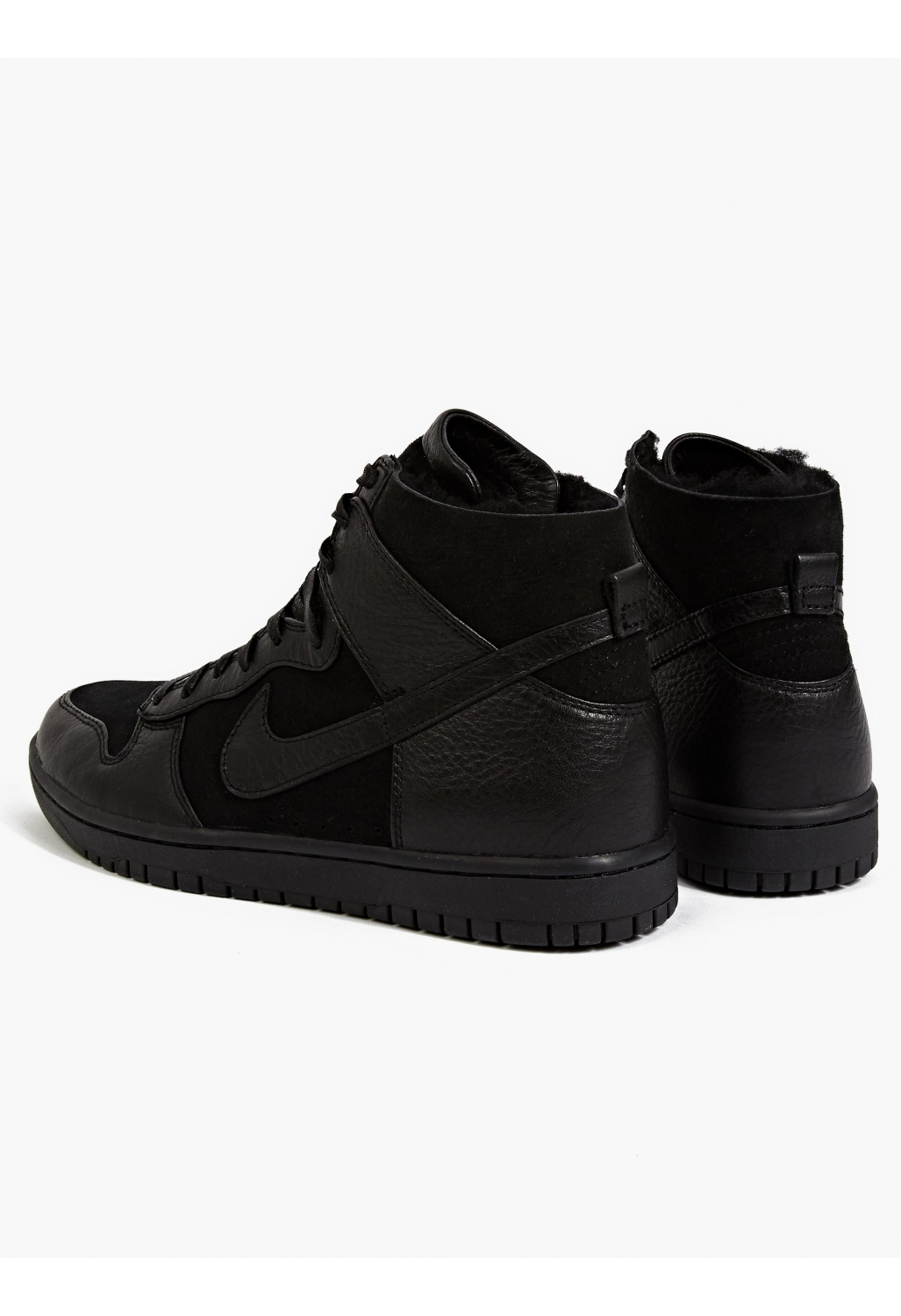 nike s dunk sp sherpa hi top sneakers in black for