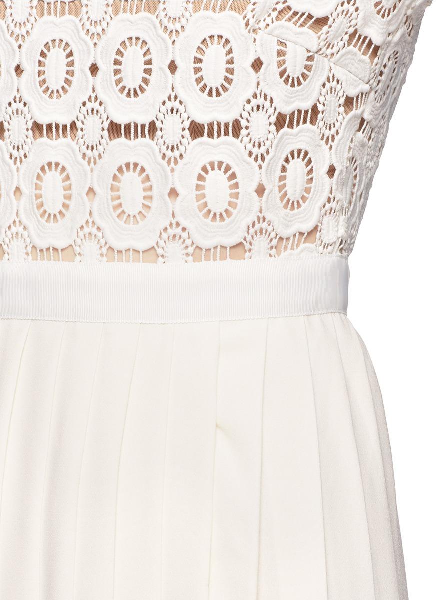 Self Portrait Floral Lace Pleat Maxi Dress In White Lyst