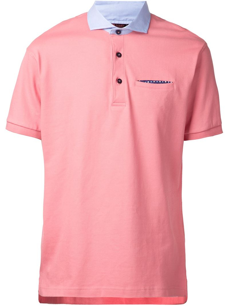Sand Contrast Collar Polo Shirt In Pink For Men Lyst