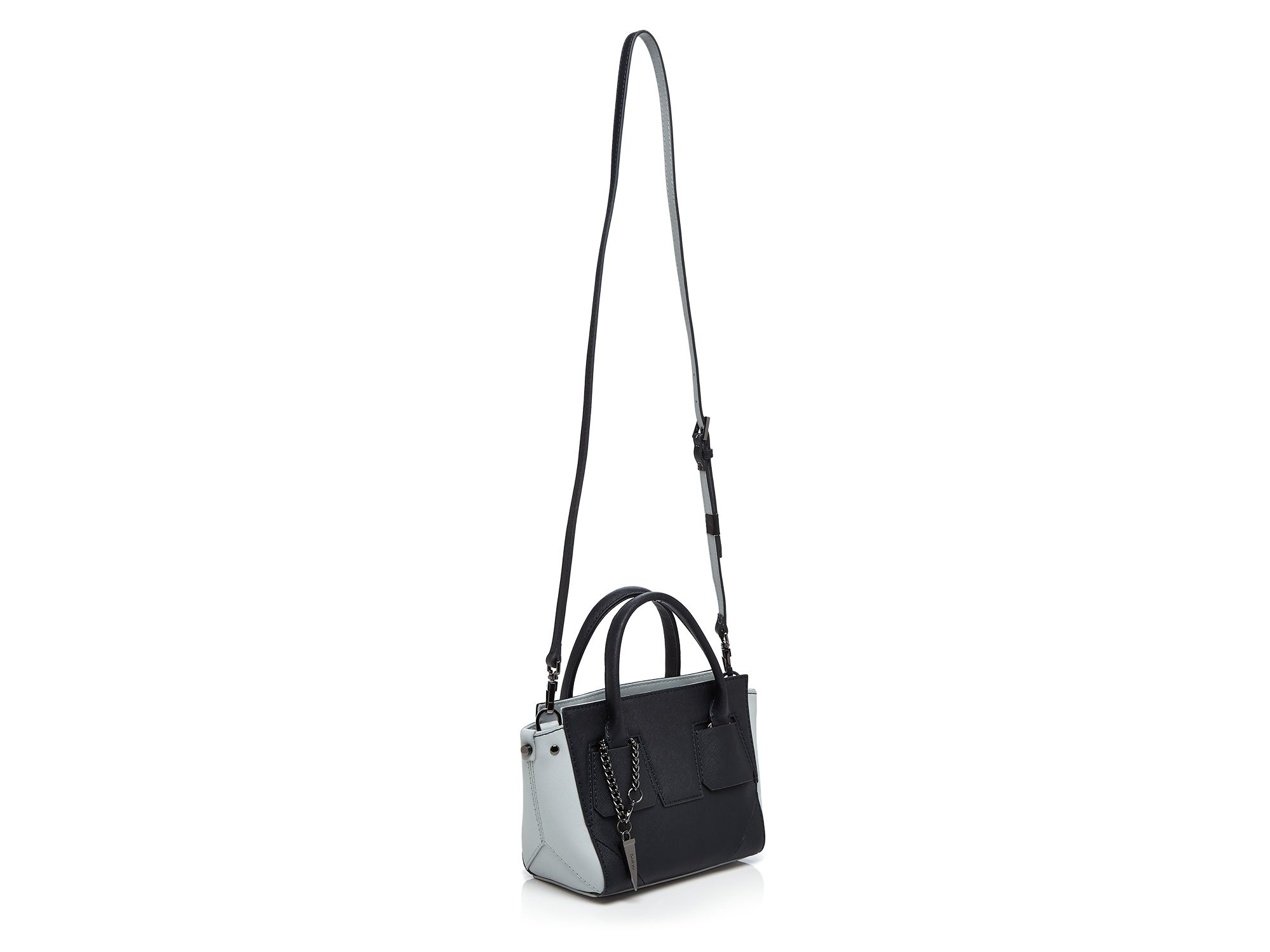 Botkier Leather Cooper Bite Size Color Block Crossbody in Navy/Soft Grey (Blue)