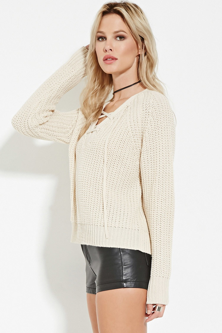 Forever 21 Lace-up Ribbed Sweater You've Been Added To The ...