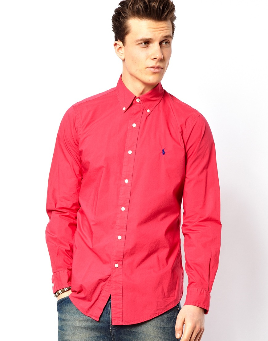 lyst polo ralph lauren shirt in poplin bright pink slim fit in pink for men. Black Bedroom Furniture Sets. Home Design Ideas