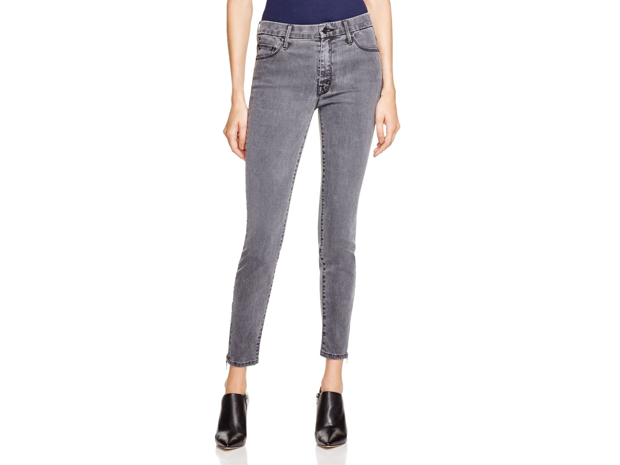 9219e612a8e5a Lyst - Mother High-waisted Looker Ankle Zip Jeans In Shadows   Light ...