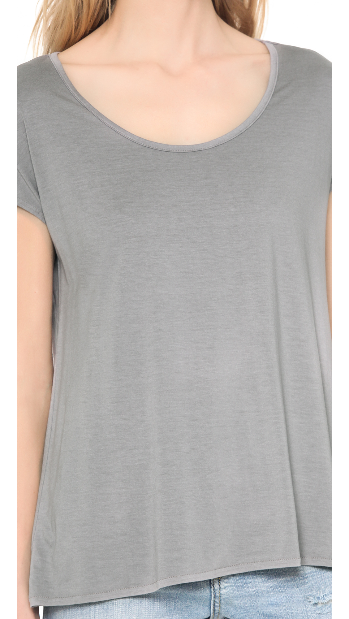 Lyst three dots cap sleeve relaxed tee in gray for Three dots t shirts