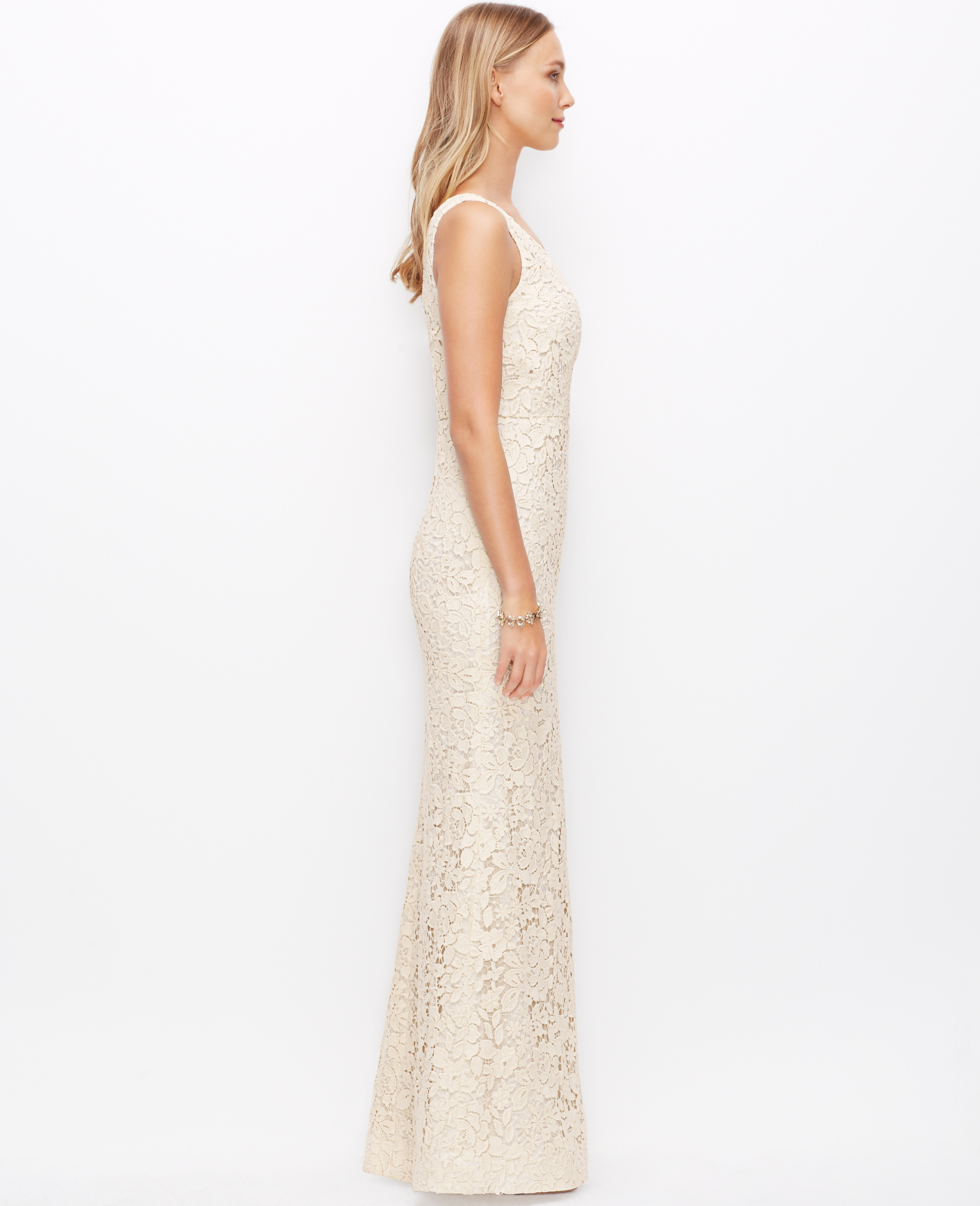 Lyst ann taylor petite lace v neck wedding dress in natural junglespirit Images