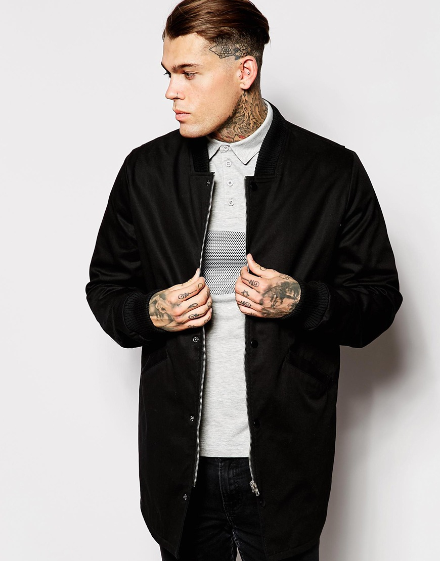 Asos Bomber Jacket In Longline in Black for Men | Lyst