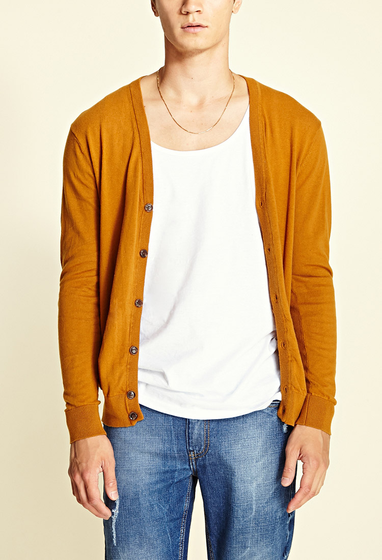 Forever 21 Classic Knit Cardigan in Yellow for Men | Lyst
