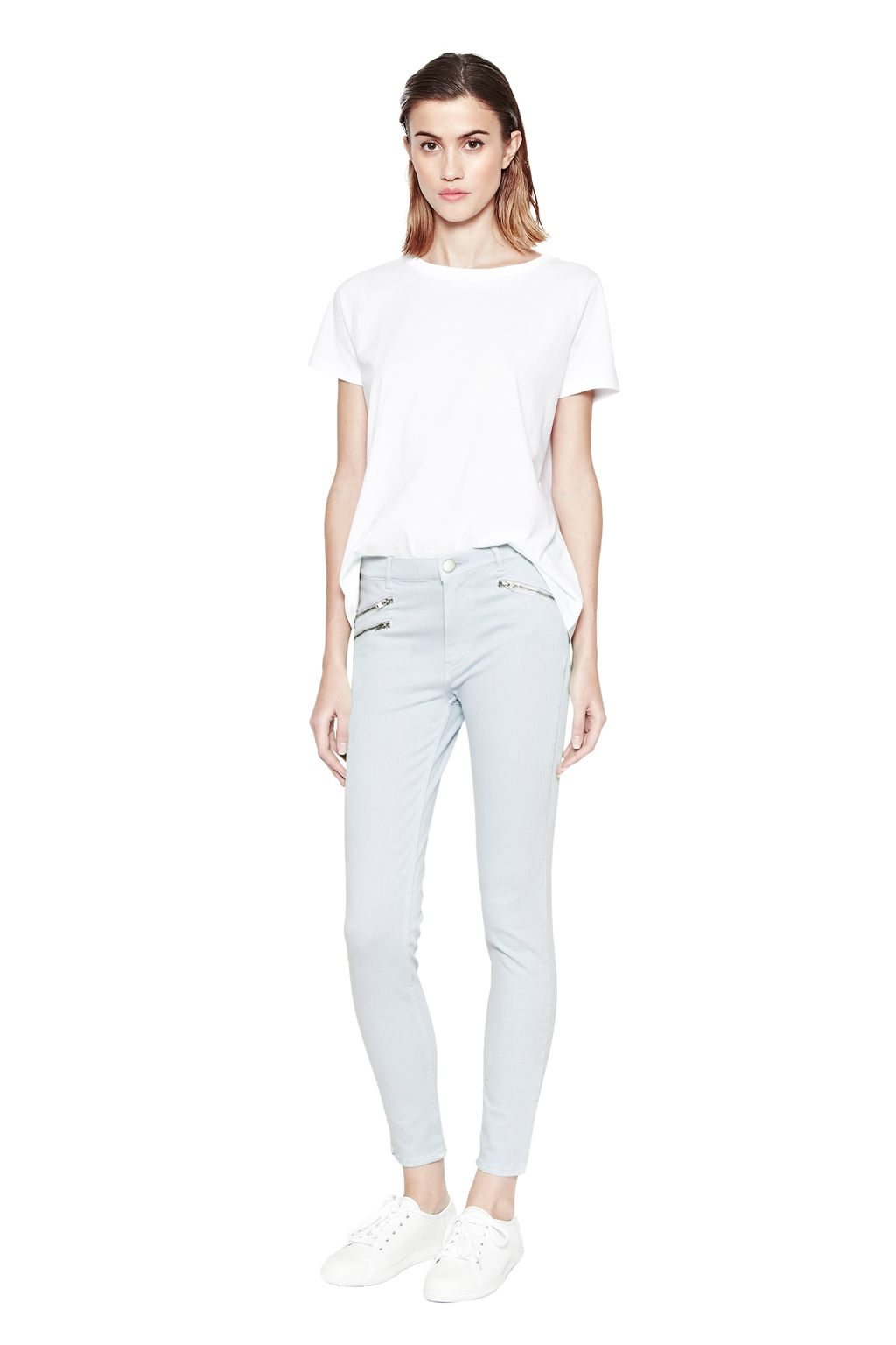 connection lilly denim zip jean in blue lyst