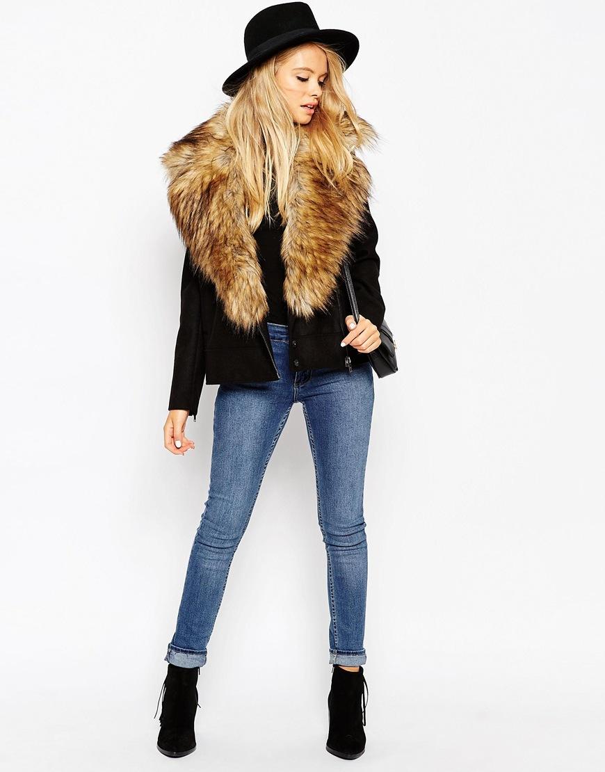 Faux Fur Leather Jackets Uk - Jacket