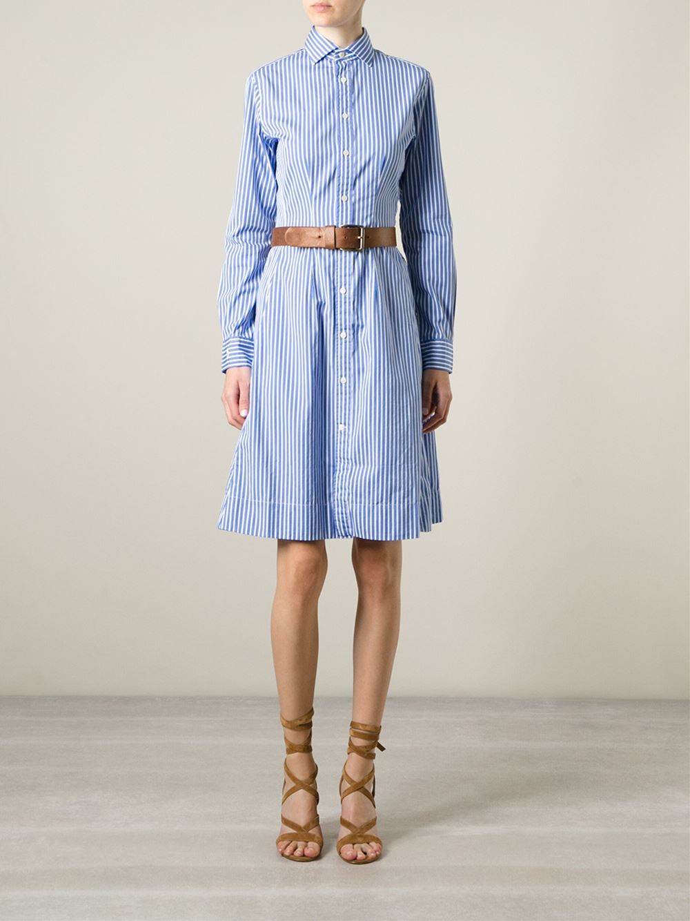 a4bf9b6600 Lyst - Polo Ralph Lauren Striped Shift Dress in Blue