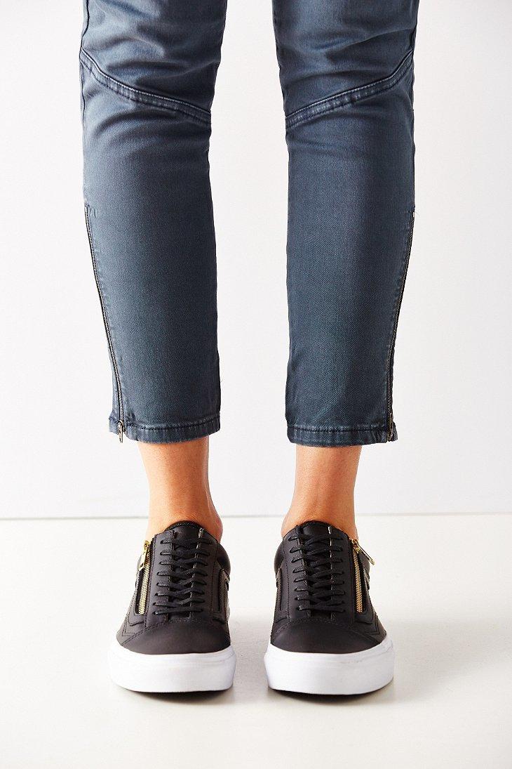 Lyst - Vans Leather Old Skool Zip Sneaker in Black 11e5f8a5e