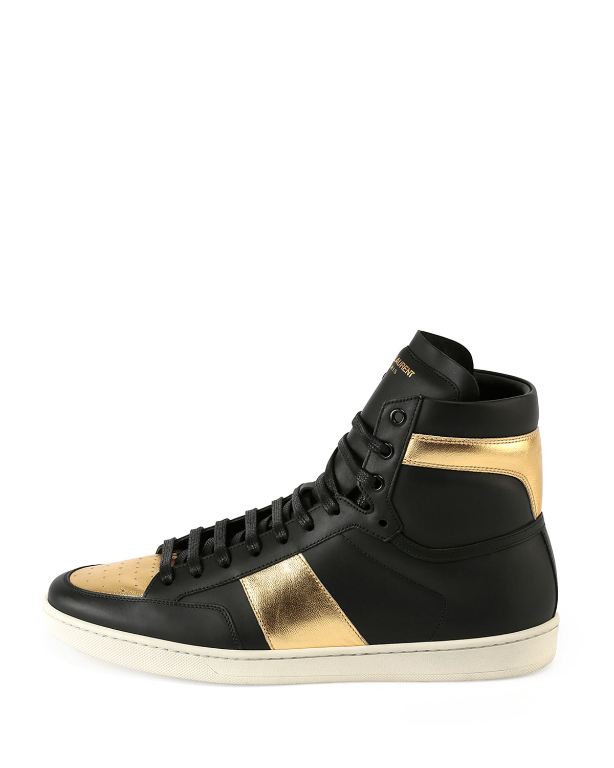 saint laurent sl 18h leather high top sneaker in metallic lyst. Black Bedroom Furniture Sets. Home Design Ideas