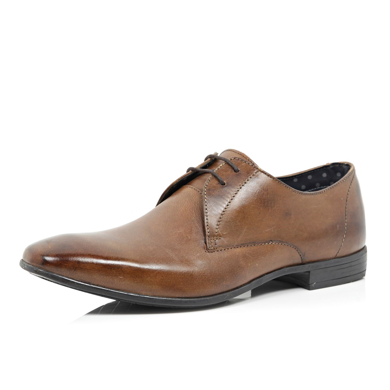 river island brown leather square toe formal lace up shoes