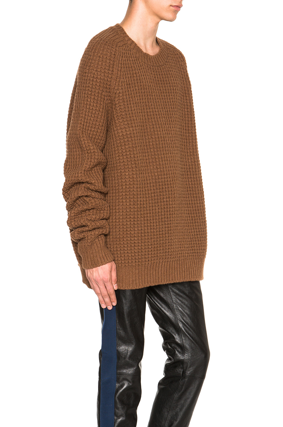haider ackermann chunky roundneck sweater in brown lyst. Black Bedroom Furniture Sets. Home Design Ideas