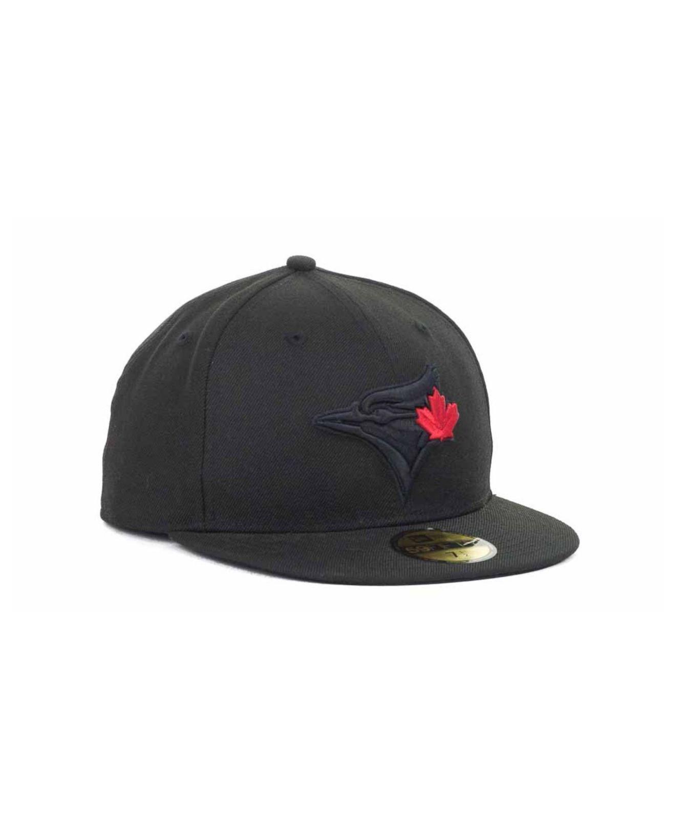 best service efd89 c748b ... official store lyst ktz toronto blue jays mlb black on black fashion 59fifty  cap fc24b 07d09