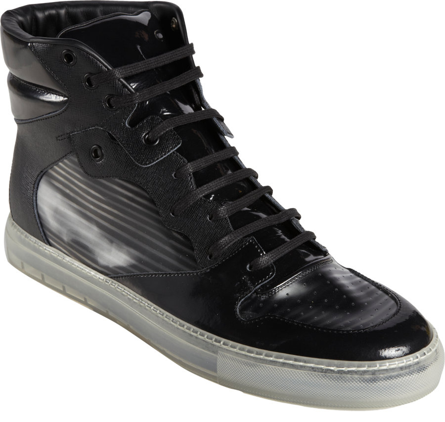 balenciaga hologrameffect hightop sneakers in black for men lyst. Black Bedroom Furniture Sets. Home Design Ideas