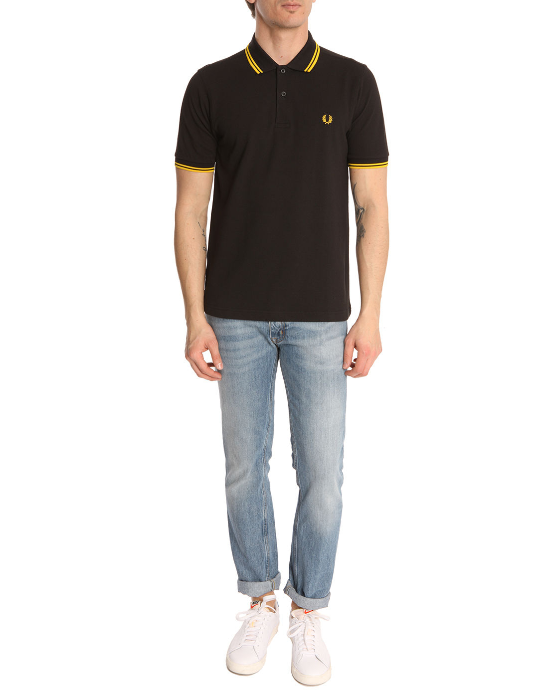 Fred Perry Slim Fit Black Polo Shirt With Yellow Band In