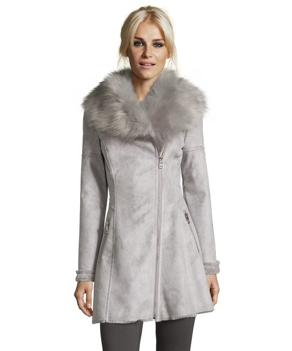 Catherine malandrino Dove Grey Luxurious Faux Shearling Fit ...