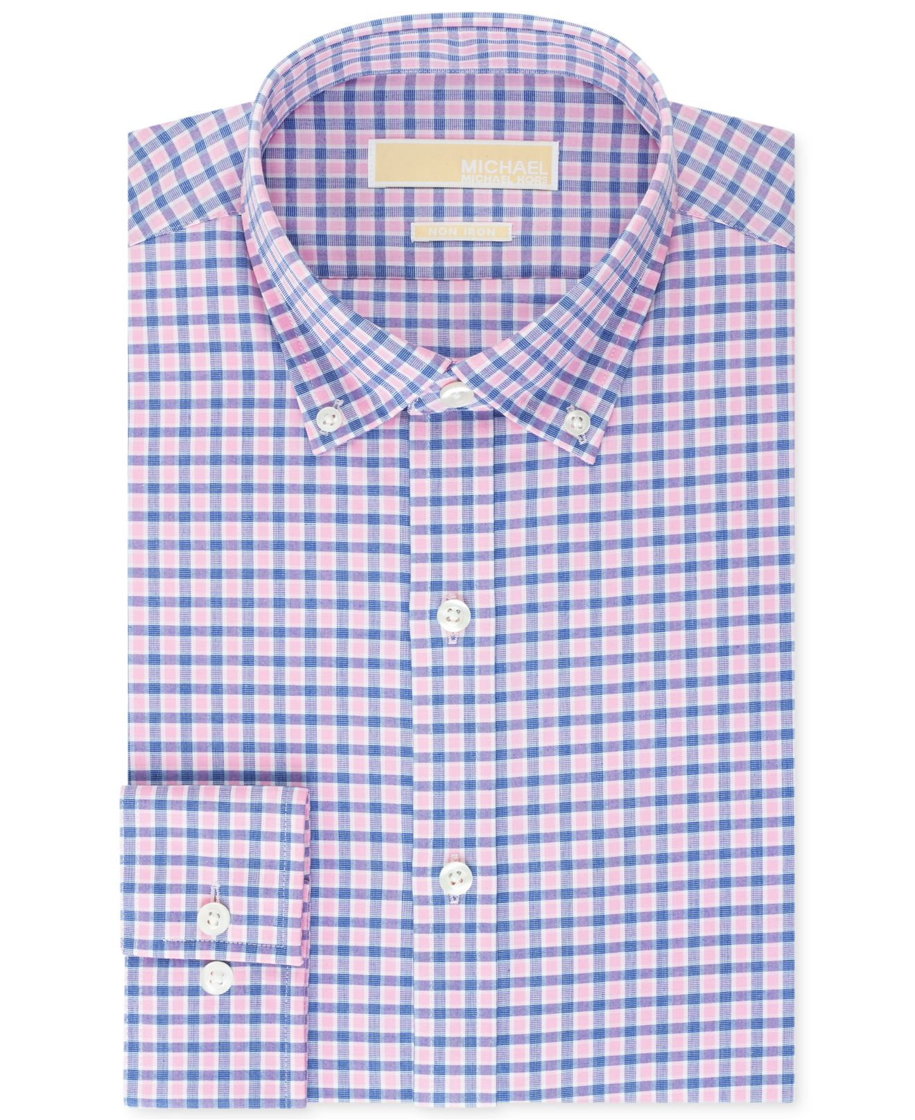 Michael kors Michael Non-Iron Pink And Blue Check Dress Shirt in ...