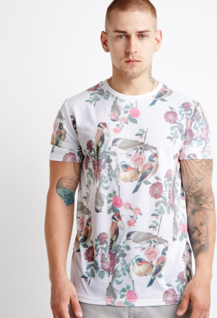Forever 21 Floral Robin Print Tee In White For Men Lyst
