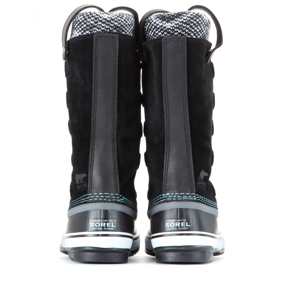 Sorel Joan Of Arctic Knit Suede And Rubber Boots in Black