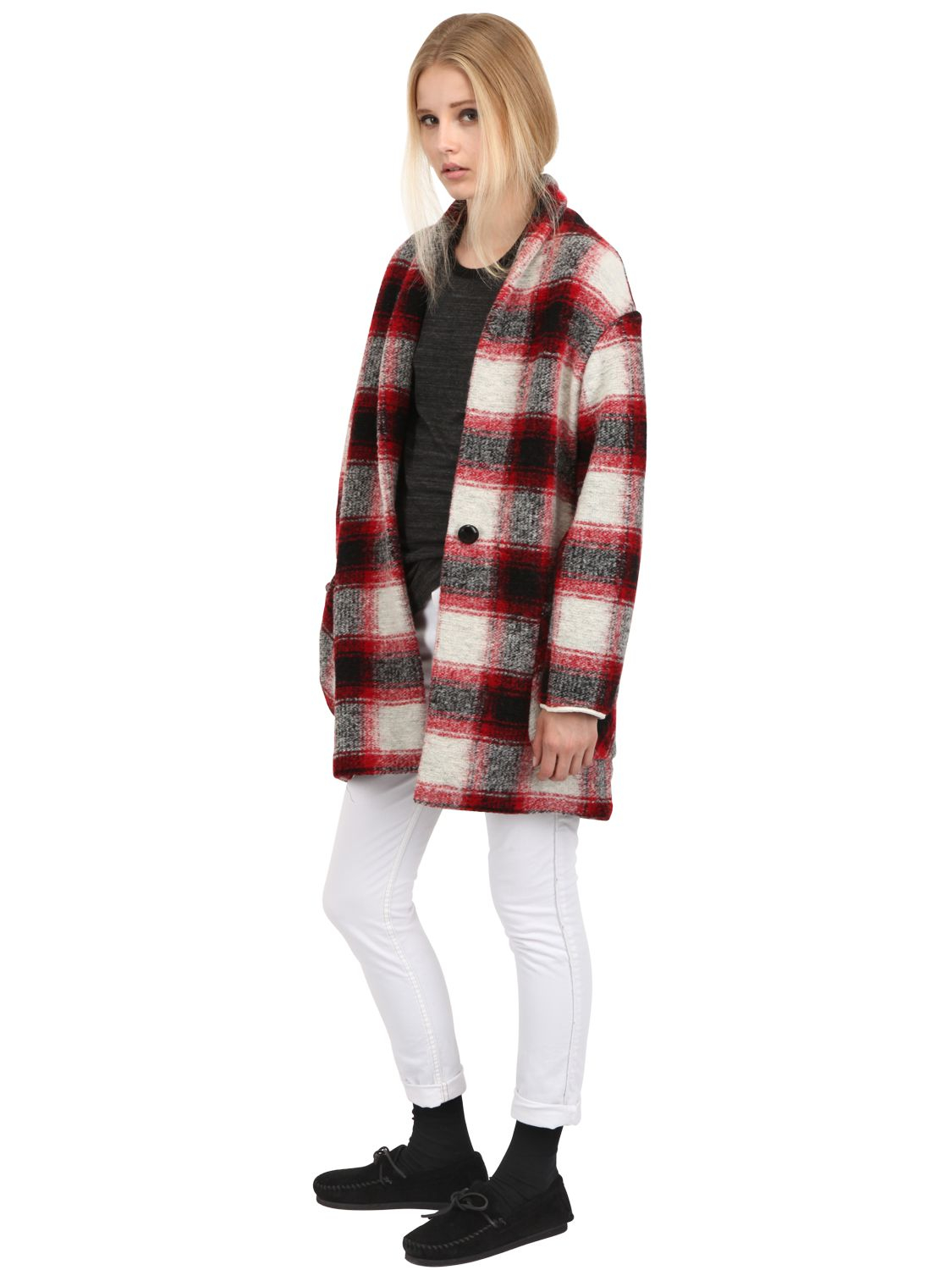 201 Toile Isabel Marant Plaid Wool Flannel Coat In Red Lyst