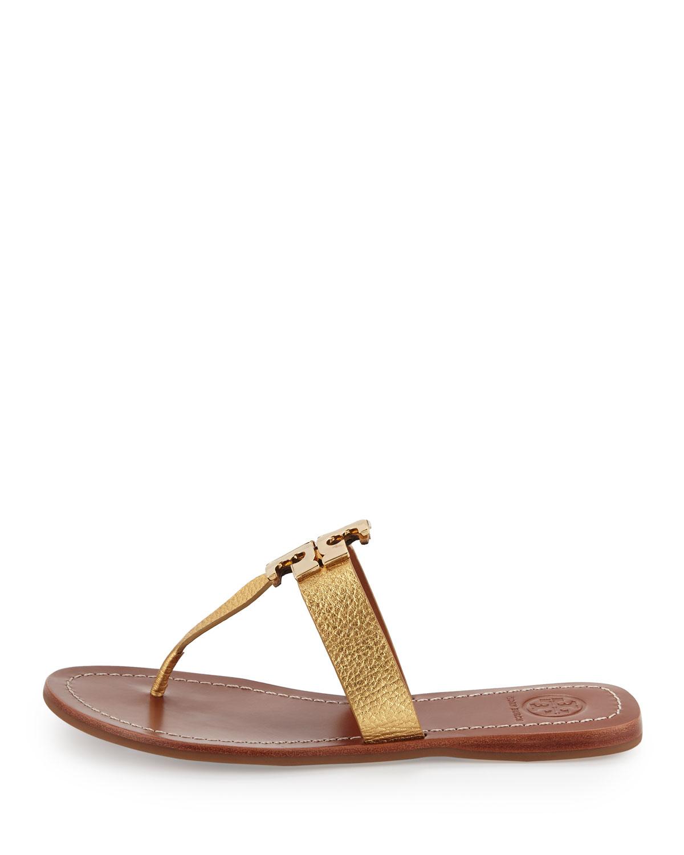 31e67fa0648 Tory Burch Moore 2 Flat Leather Thong Sandal in Metallic - Lyst