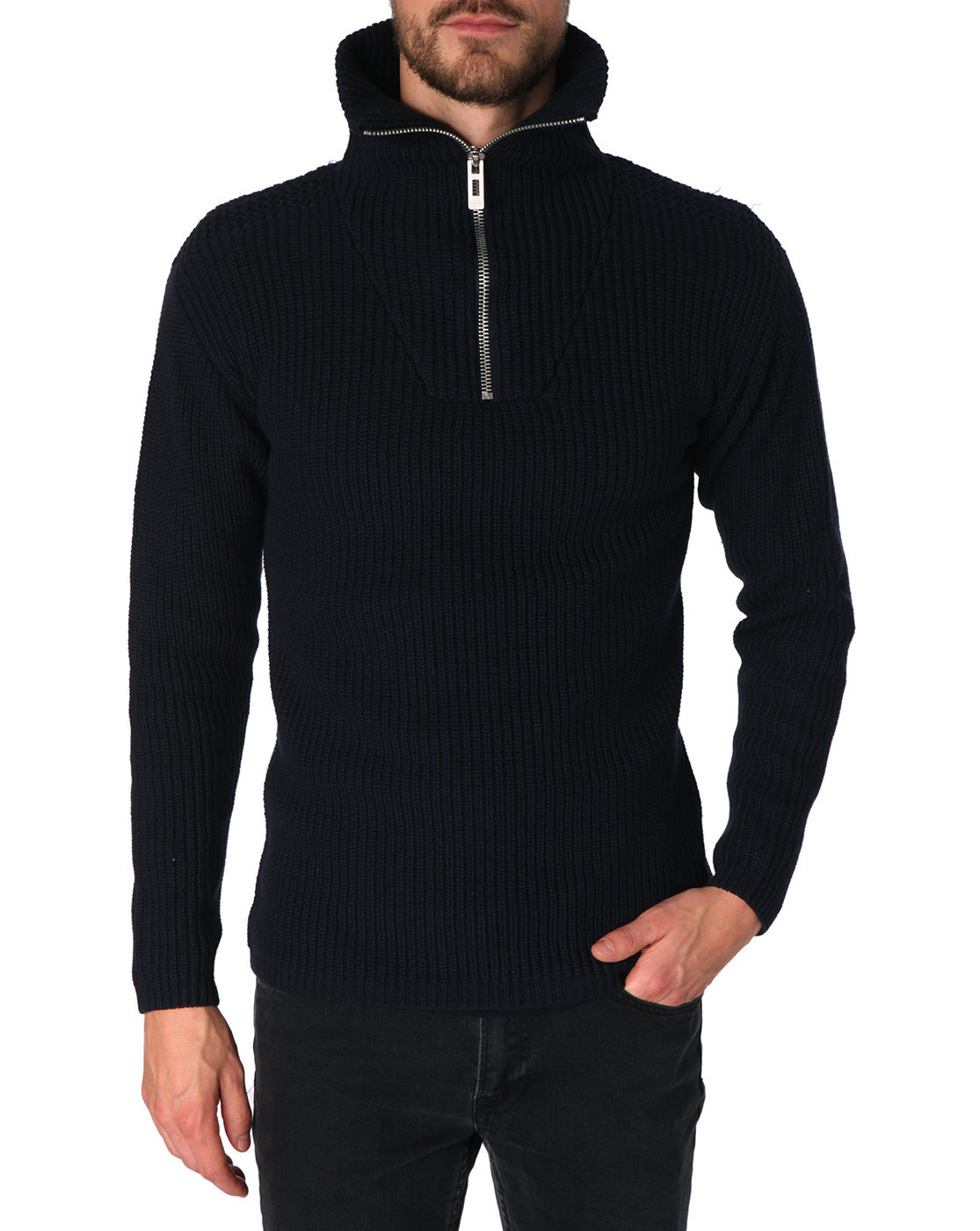 g star raw bribcort navy zip sweater with trucker collar. Black Bedroom Furniture Sets. Home Design Ideas