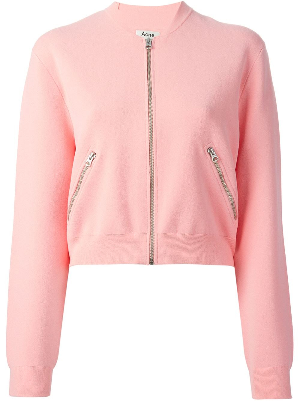 Acne studios Olympia Knit Bomber Jacket in Pink