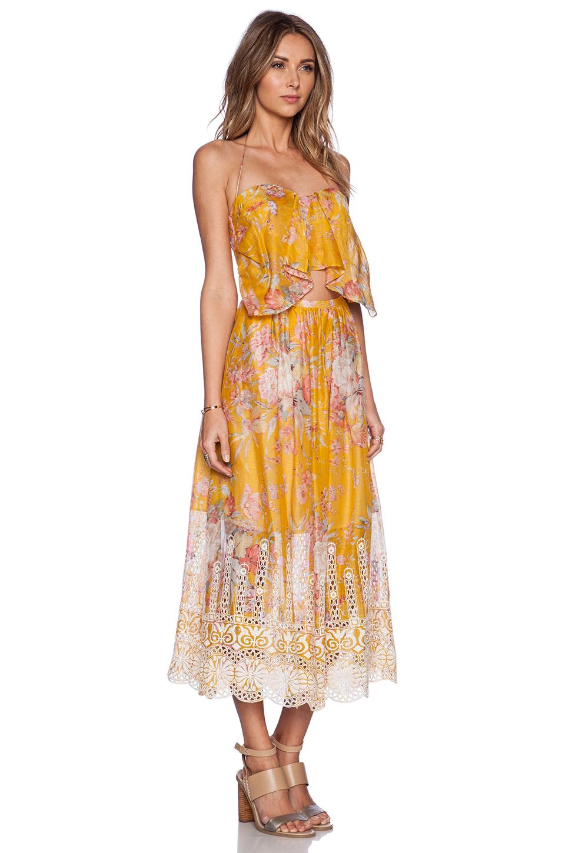 zimmermann confetti scallop tie dress in yellow mustard floral lyst. Black Bedroom Furniture Sets. Home Design Ideas
