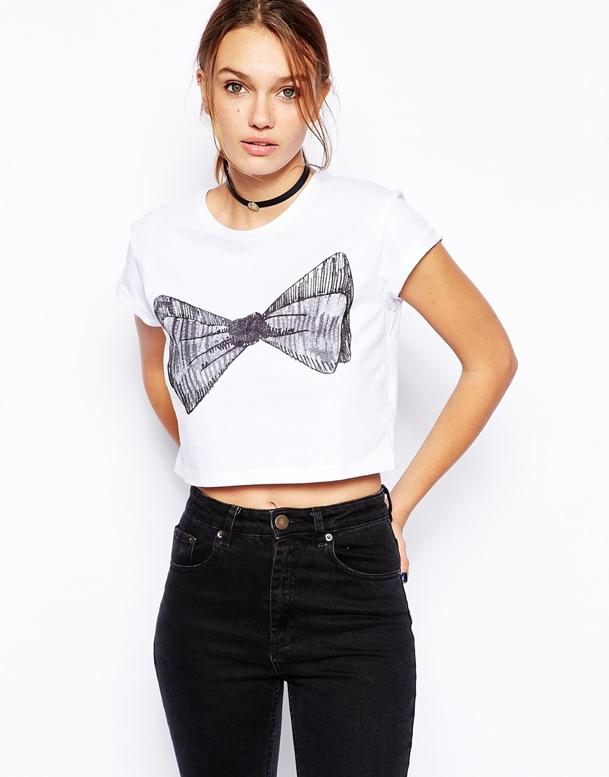 Lyst Asos Cropped T Shirt With Sketchy Bow Print In White