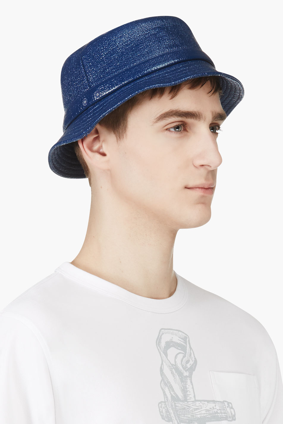 5d35a98b6ef Lyst - Thom Browne Navy Waxed Cotton Tilley Hat in Blue for Men