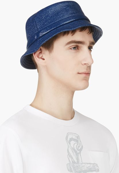 Thom Browne Navy Waxed Cotton Tilley Hat In Blue For Men