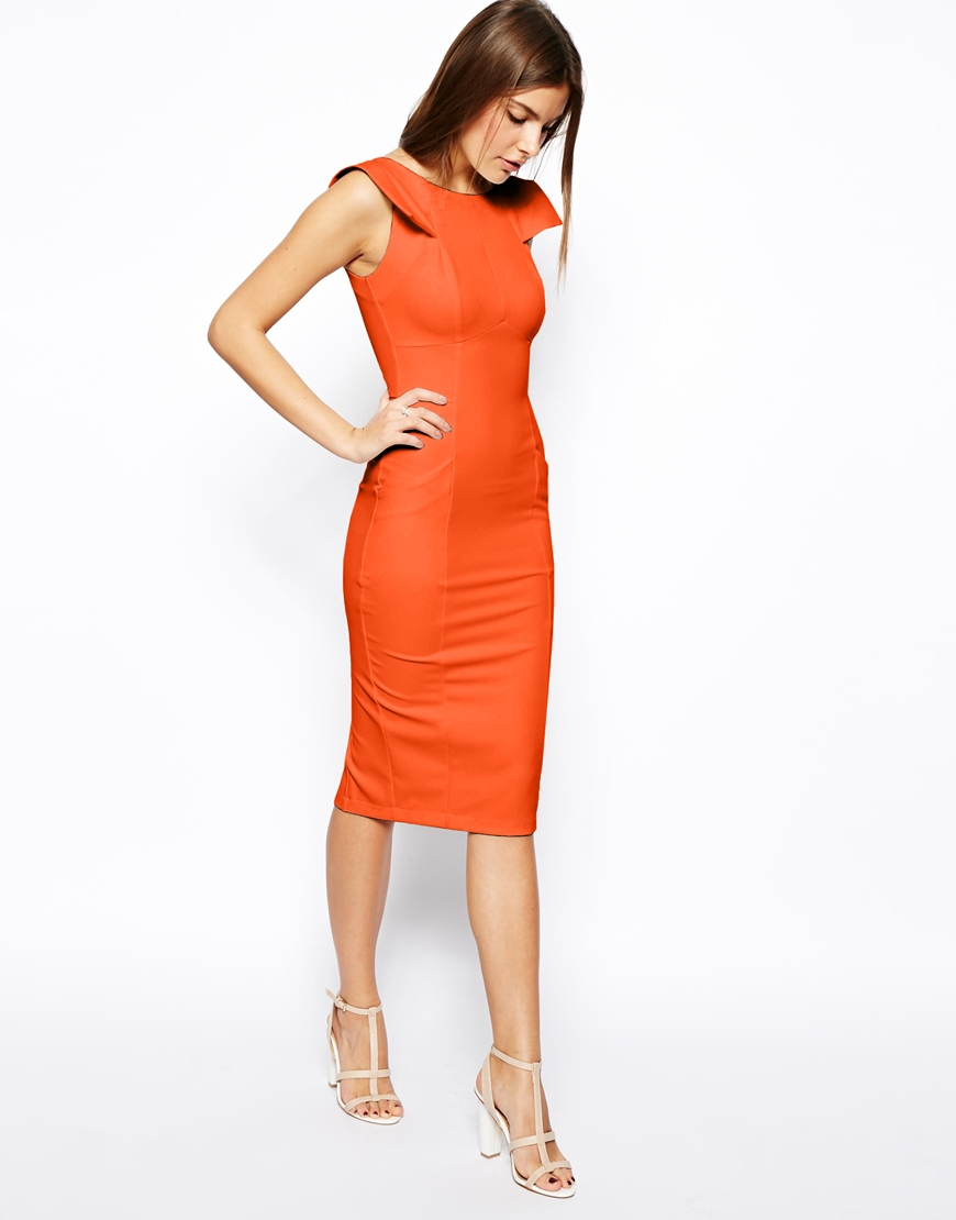 Asos Pencil Dress With Fold Sleeve Detail In Orange Lyst