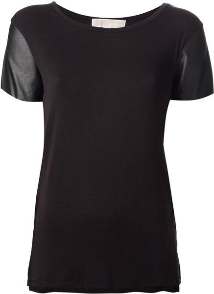 michael michael kors contrast sleeve t shirt in black lyst. Black Bedroom Furniture Sets. Home Design Ideas