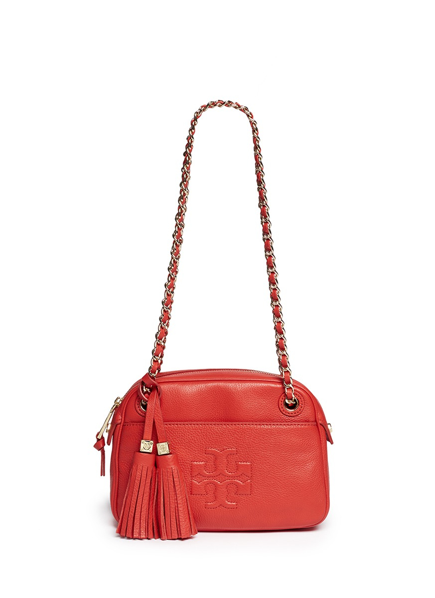 tory burch thea chain leather crossbody bag in red lyst