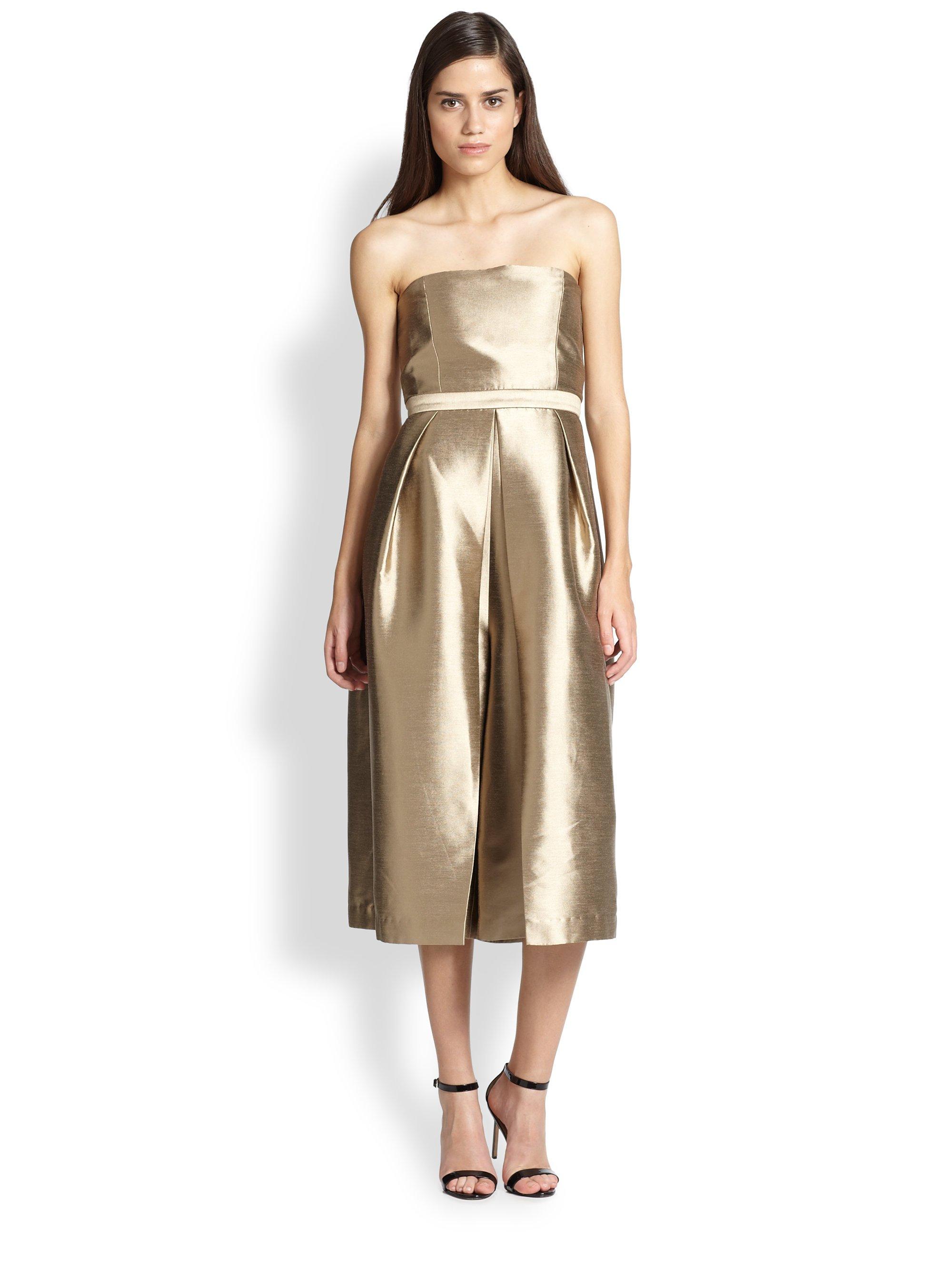 Tibi Halcyon Metallic Shantung Jumpsuit Dress Lyst