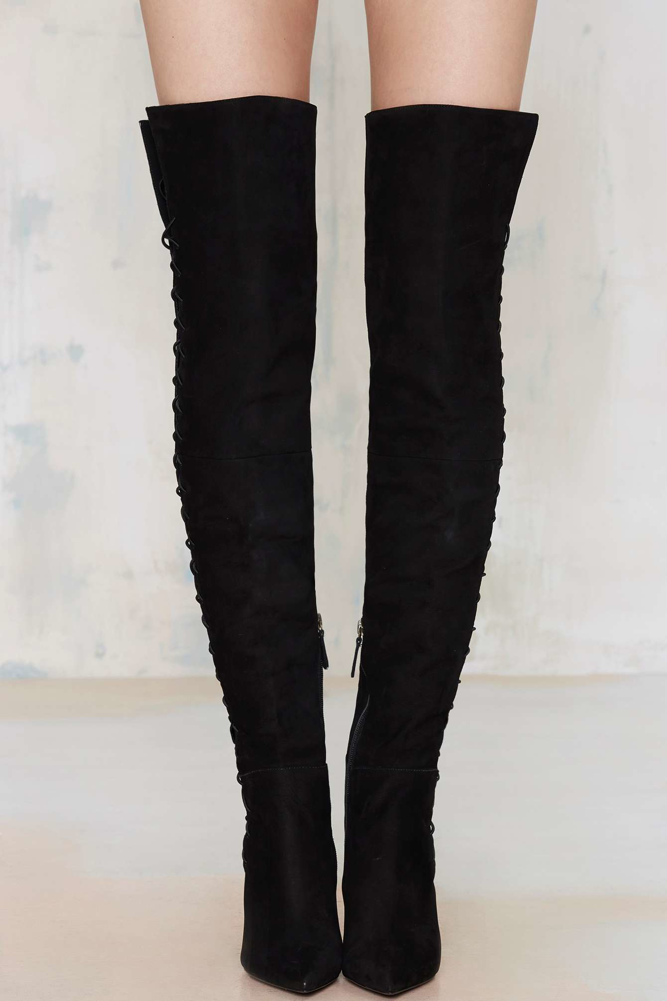 schutz dudalina lace up thigh high boot in black lyst