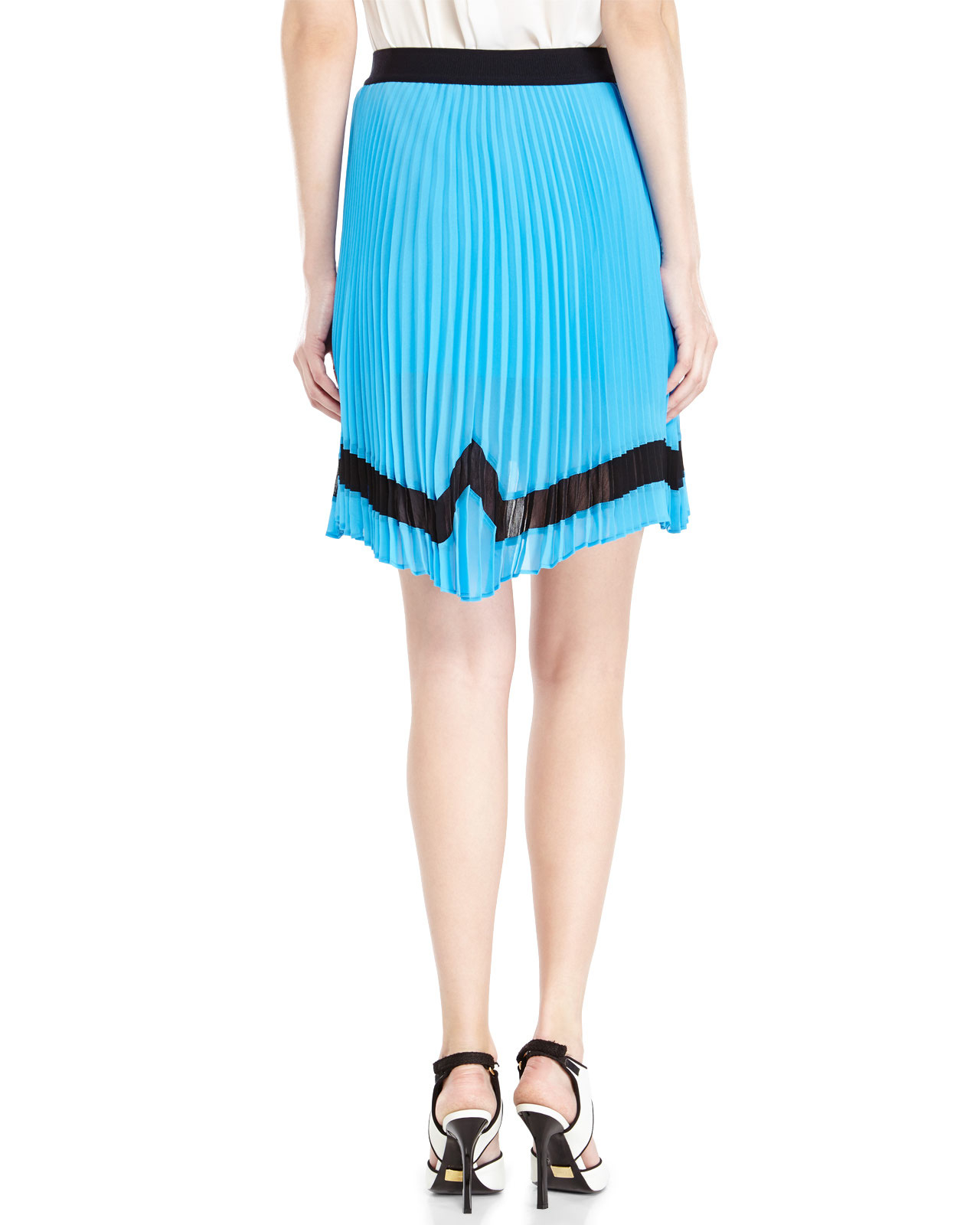 space style concept pleated hi low skirt in blue lyst