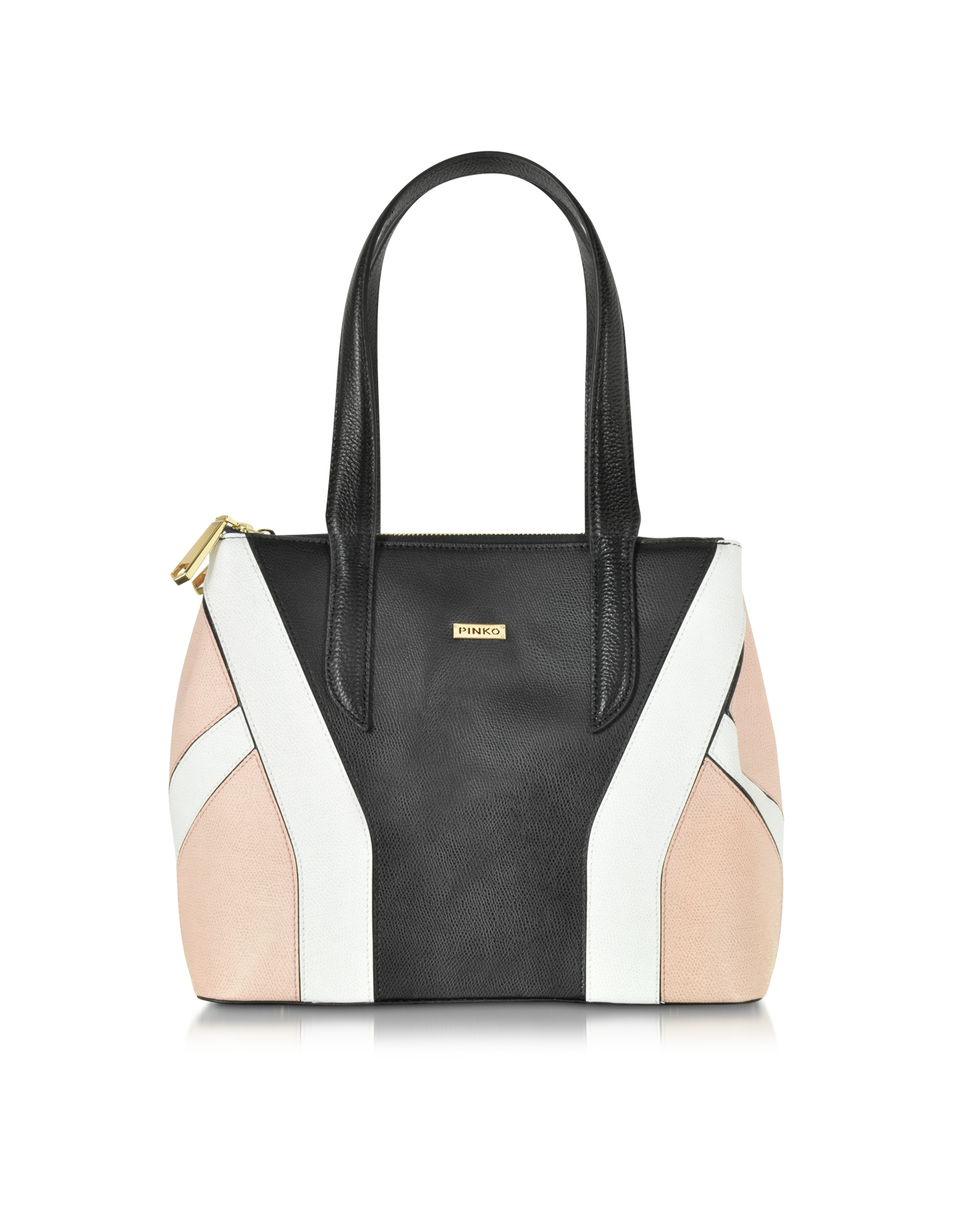 pinko black pink and white embossed leather tote bag in